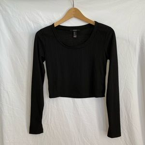Forever 21 Black Striped Long Sleeve Crop Top